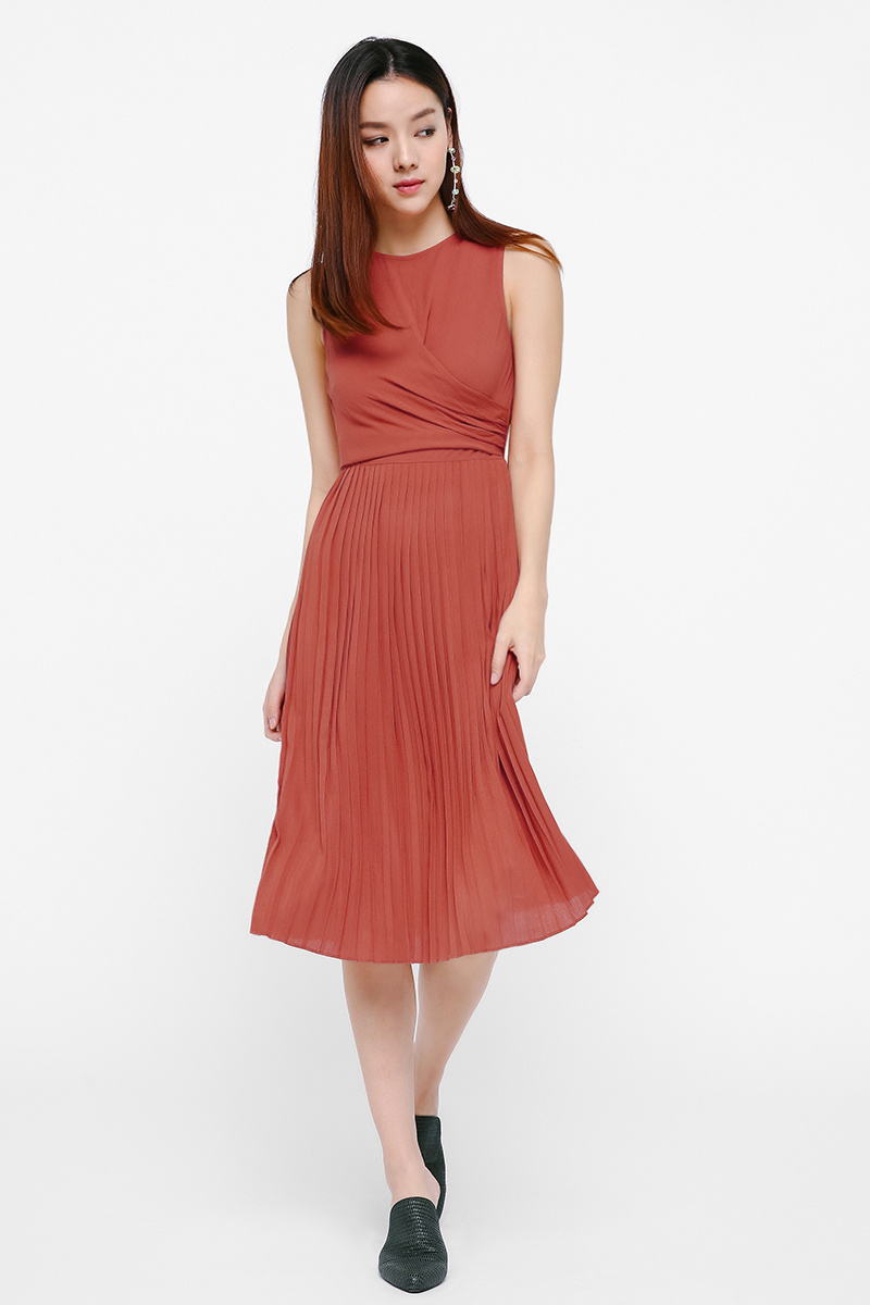 Romina Pleated Midi Dress