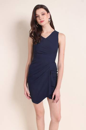MADEBYNM MILIANA GATHERED ASYMMETRICAL FITTED WORK DRESS IN NAVY BLUE [XS/S/M/L]