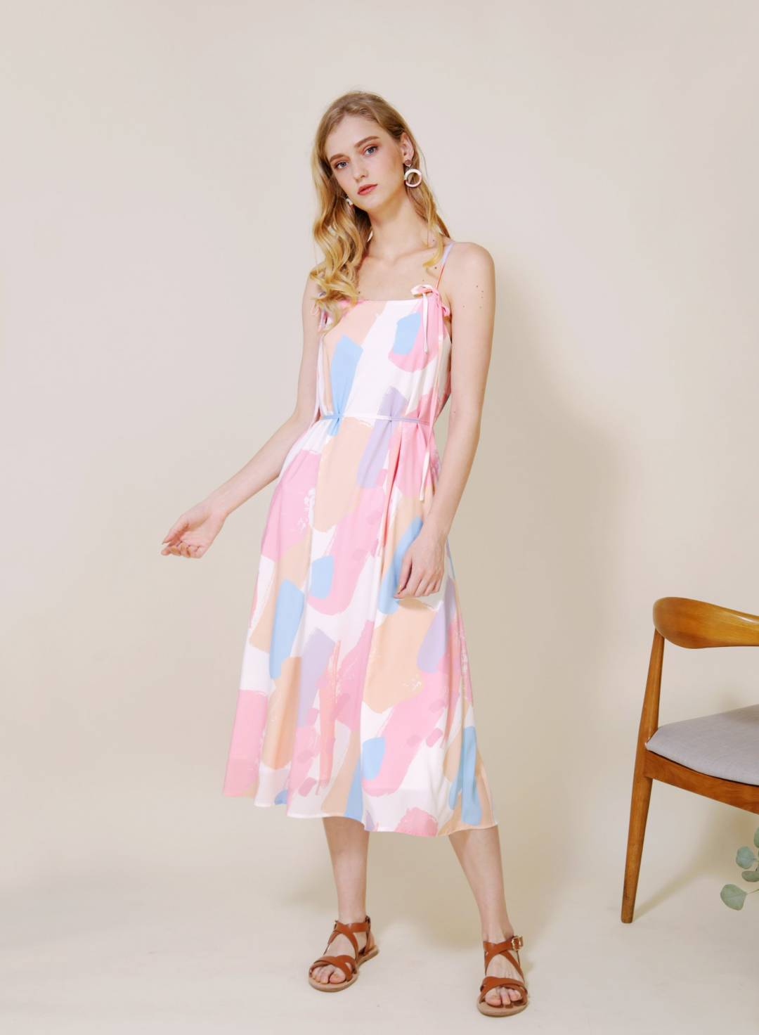 Elixir Tie Straps Brush Print Dress (Warm)