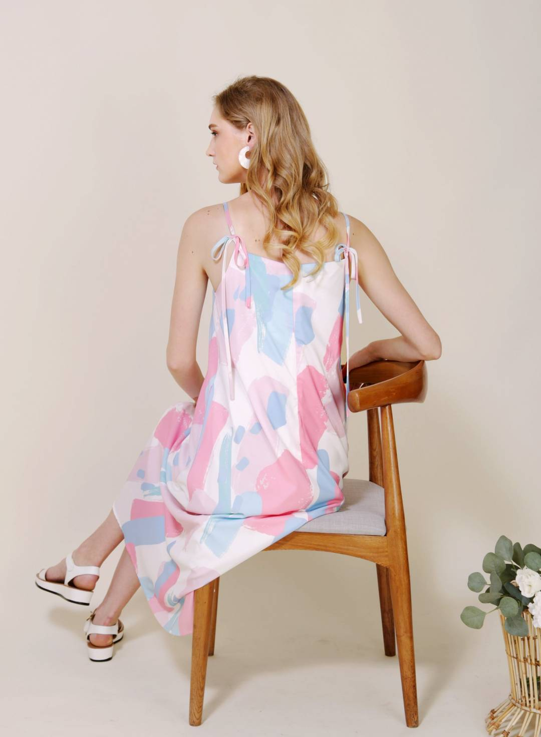 Elixir Tie Straps Brush Print Dress (Cool)