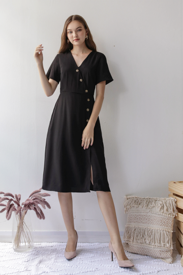 Mag Sleeved Button Dress (Black)