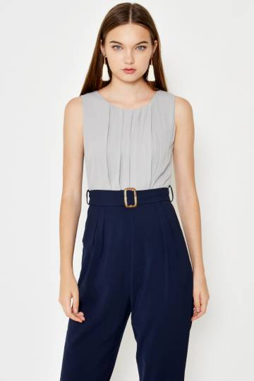 BLYTHE COLOURBLOCK JUMPSUIT W BELT GREY