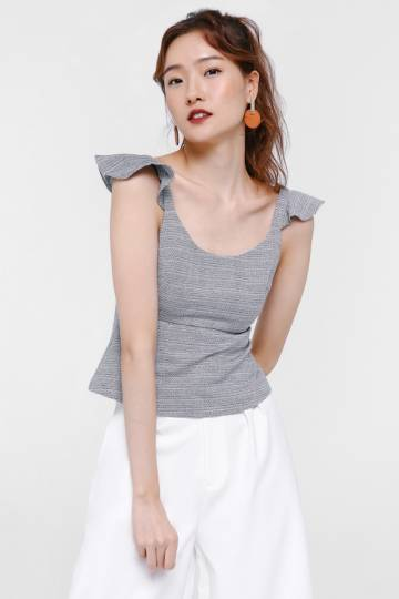 Winslow Tweed Ruffle Shoulder Top