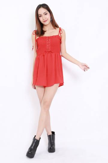 Smocked Lace Romper (Red)