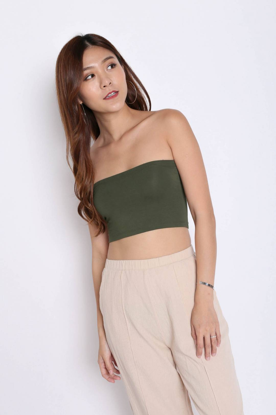 *BACKORDER* BASIC CROP TUBE TOP IN ARMY GREEN