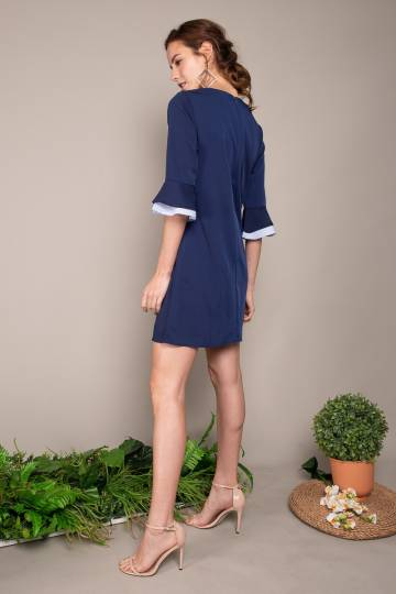 Maina Tiered Bell Sleeve Dress in Navy