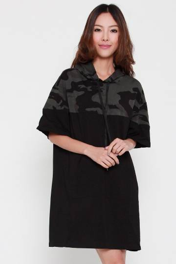 Chad Camo Hoodie Dress in Black