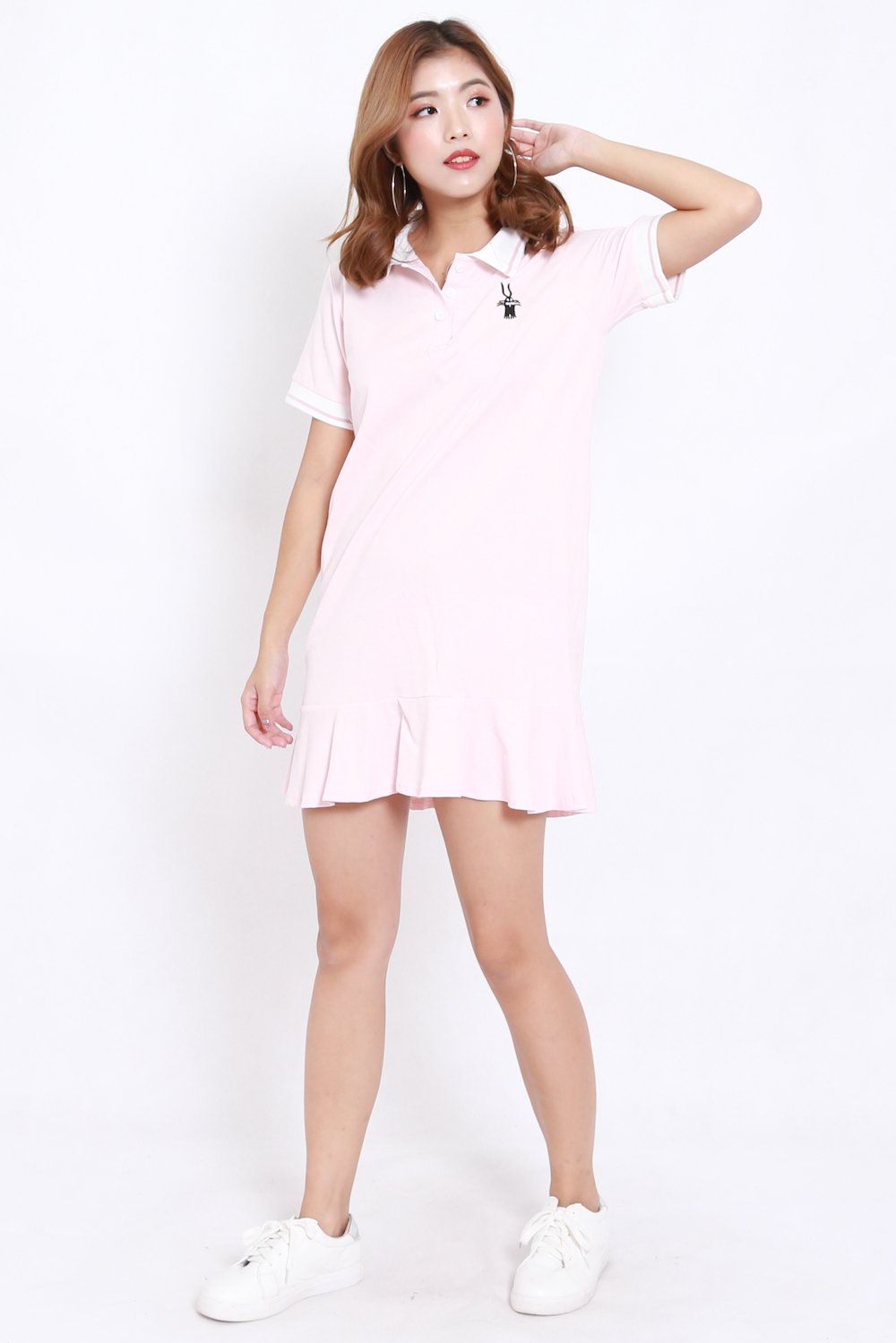 Mermaid Collar Tee Dress (Pink)
