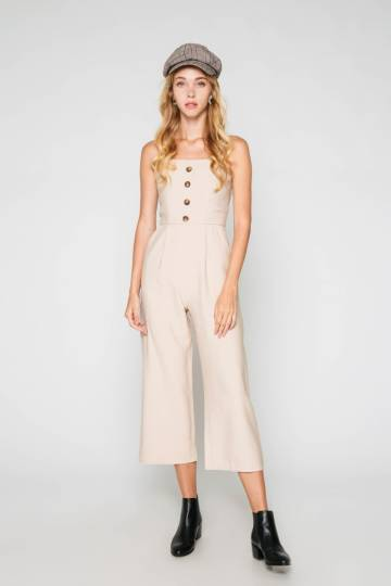 LANA BUTTON JUMPSUIT OAT