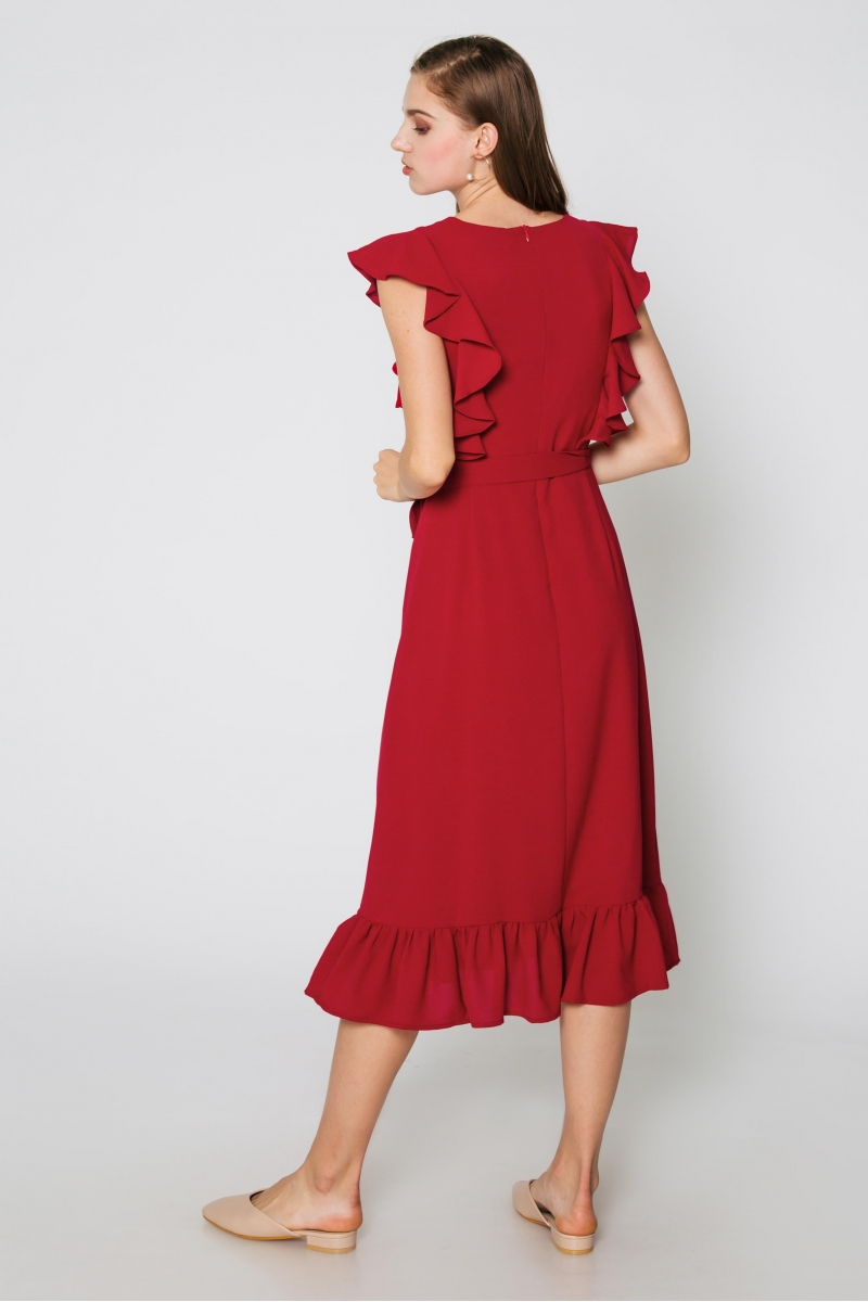 SAVANNAH FLUTTER SLEEVE DRESS W SASH RED