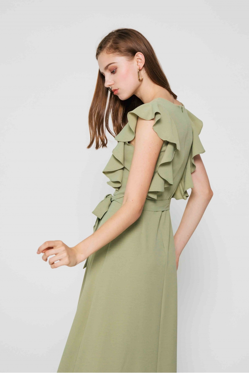 SAVANNAH FLUTTER SLEEVE DRESS W SASH SAGE GREEN