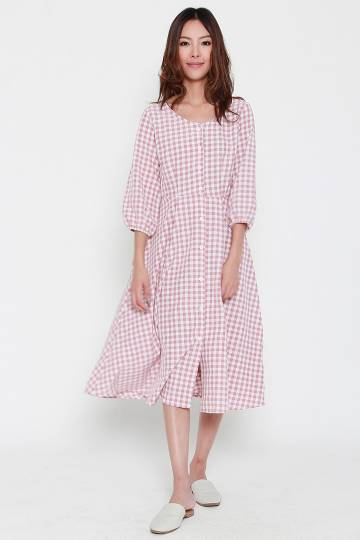 Neri Checkered Dress in Pink