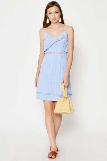 KEZIAH TEXTURED CUT OUT DRESS PERIWINKLE
