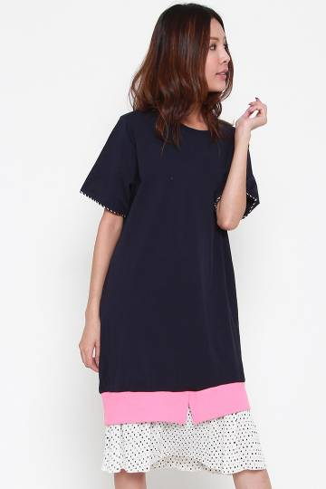Sushien Polka Dress in Blue Pink