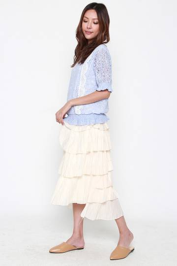 Last Chance - Margot Tier Skirt in Cream