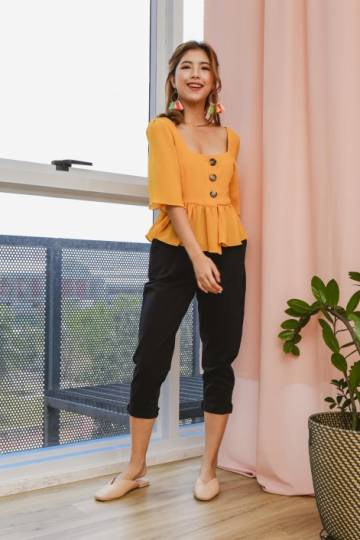 Peasantly Prance Button Blouse Marigold