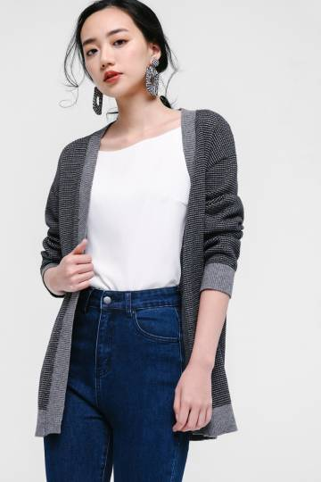 Noreen Contrast Piping Knit Cardigan