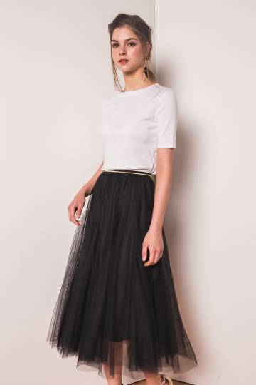 (BACKORDER) Naevia Tulle Skirt in Black