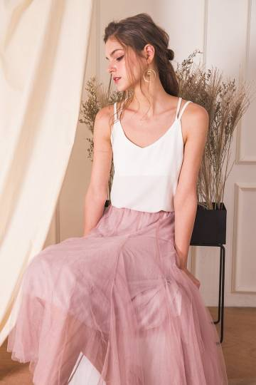 (BACKORDER) Naevia Tulle Skirt in Mauve