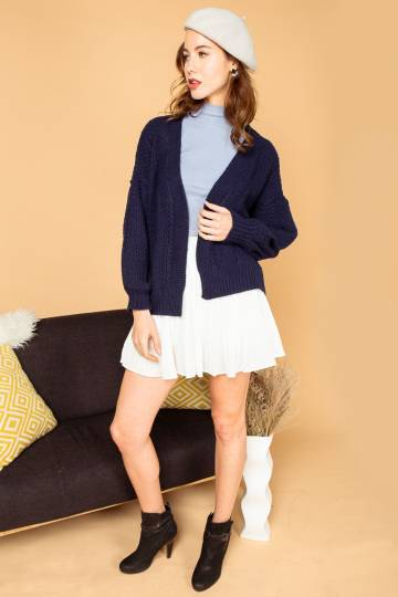 (BACK IN STOCK) Karlie Knitted Cardigan in Navy