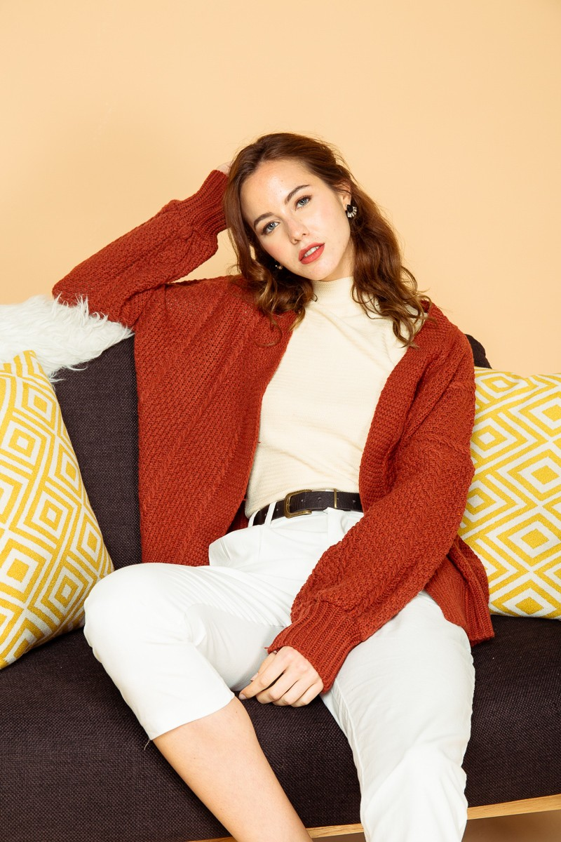 (BACKORDER) Karlie Knitted Cardigan in Rust