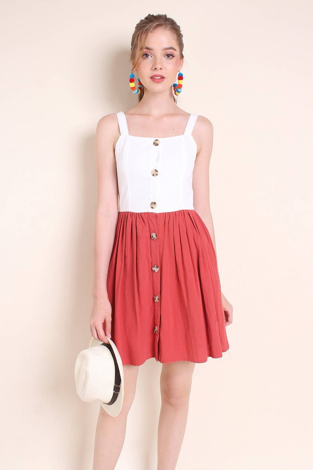 MADEBYNM ARDELLA BUTTONS LINEN COLOURBLOCK DRESS IN WHITE/ROSE [XS/S/M/L]