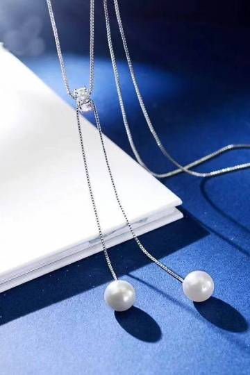 (Pre-Order) Elegant Simulated Pearl Long Drop Necklace