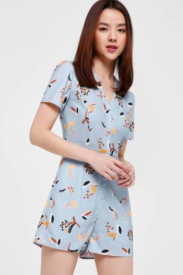 Kania Printed Button Front Romper