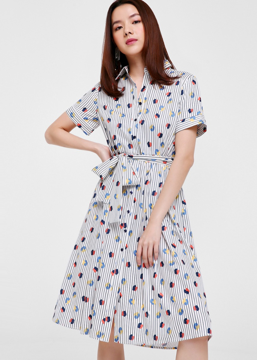 Naya Printed Tie Front Shirt Dress