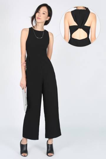 Covet Jelva Twist Back Jumpsuit