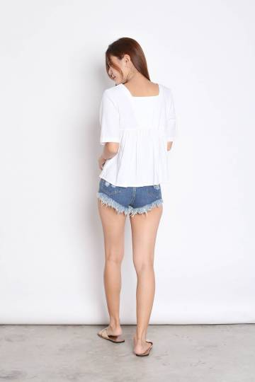 LINEN BABYDOLL BUTTON TOP IN WHITE