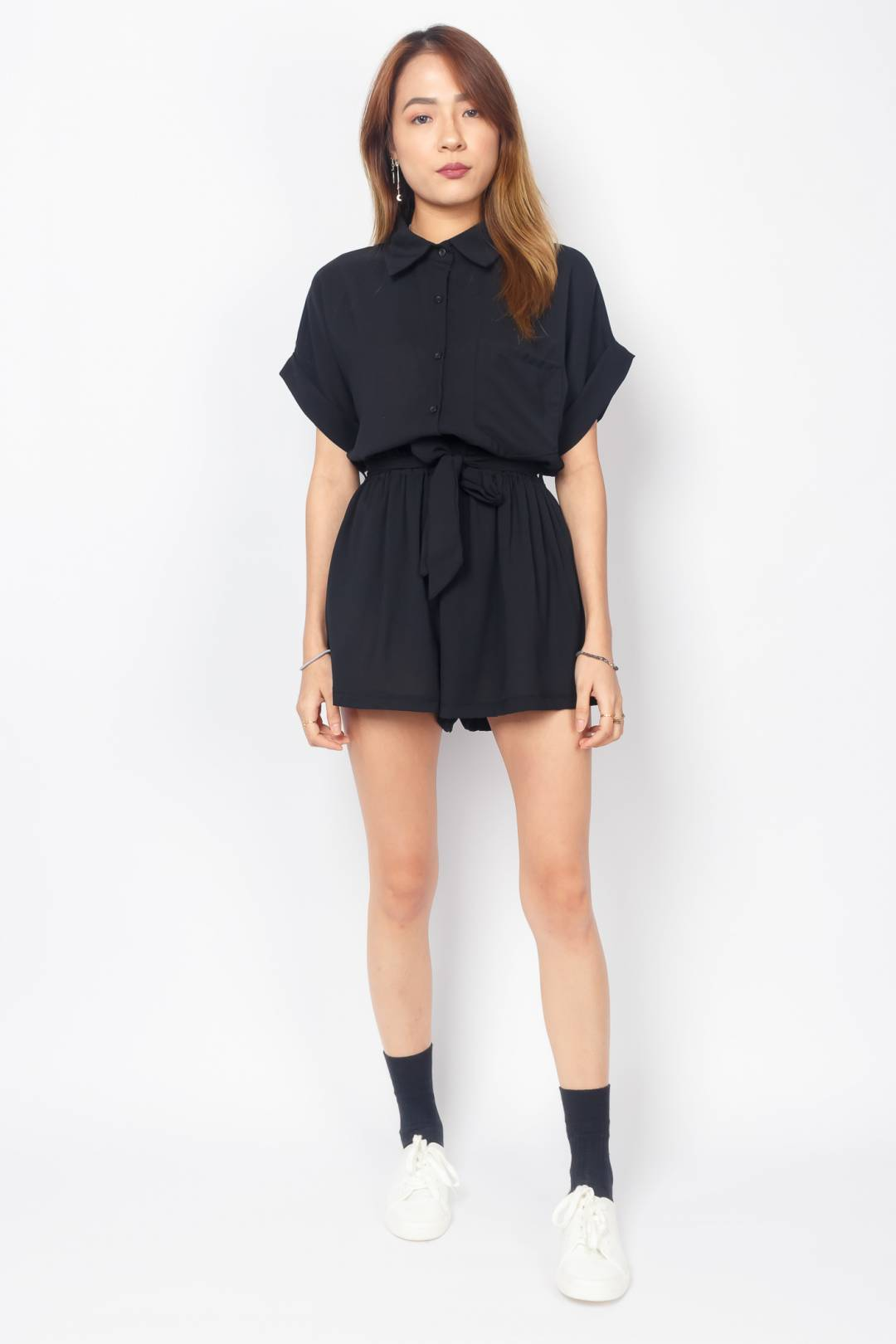 KYLEE Two-Piece Collared Romper (Black)