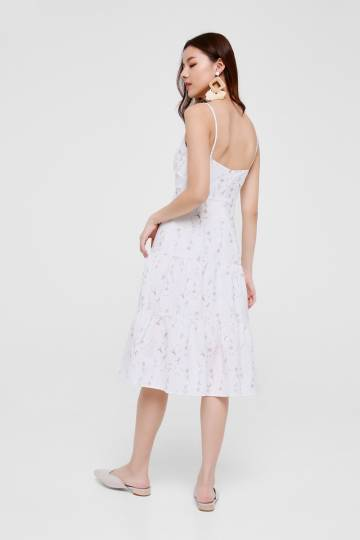 Angeline Printed Tiered Midi Dress
