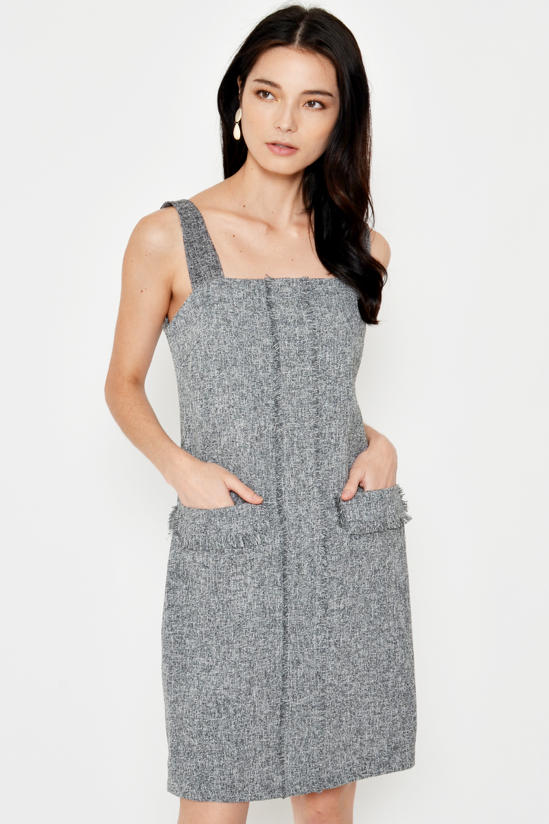 TERI TWEED PINAFORE DRESS GREY