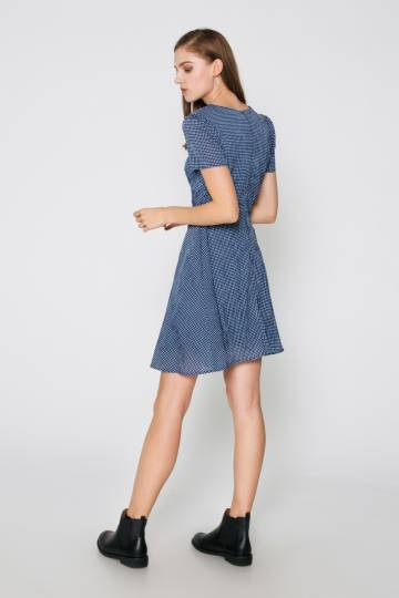 ZOEY CHECKERED FLARE DRESS BLUE