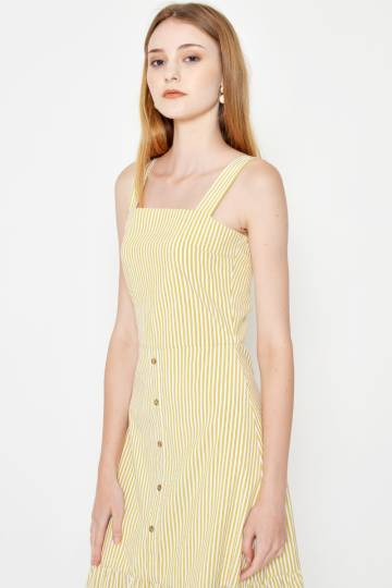 JOSIE STRIPE FLOUNCE HEM MIDI DRESS YELLOW