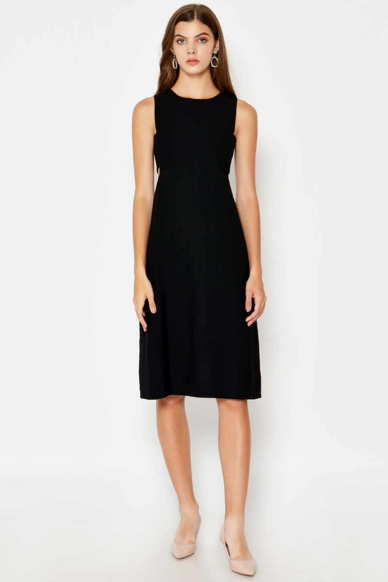 ASHER SIDE CUTOUT DRESS BLACK