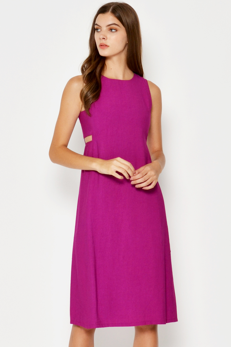 ASHER SIDE CUTOUT DRESS ORCHID