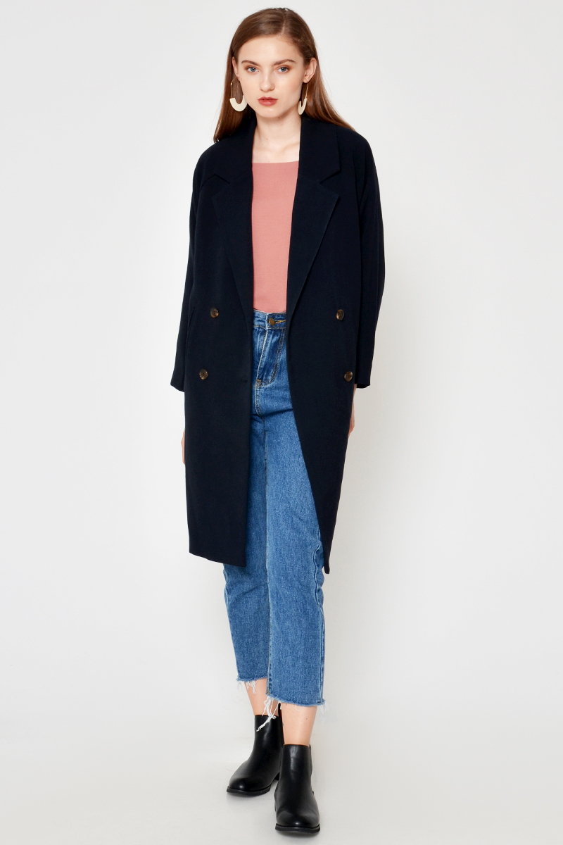 BACKORDER CABRIE LAPEL COAT NAVY