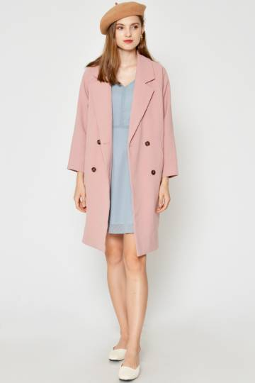 BACKORDER CABRIE LAPEL COAT PINK
