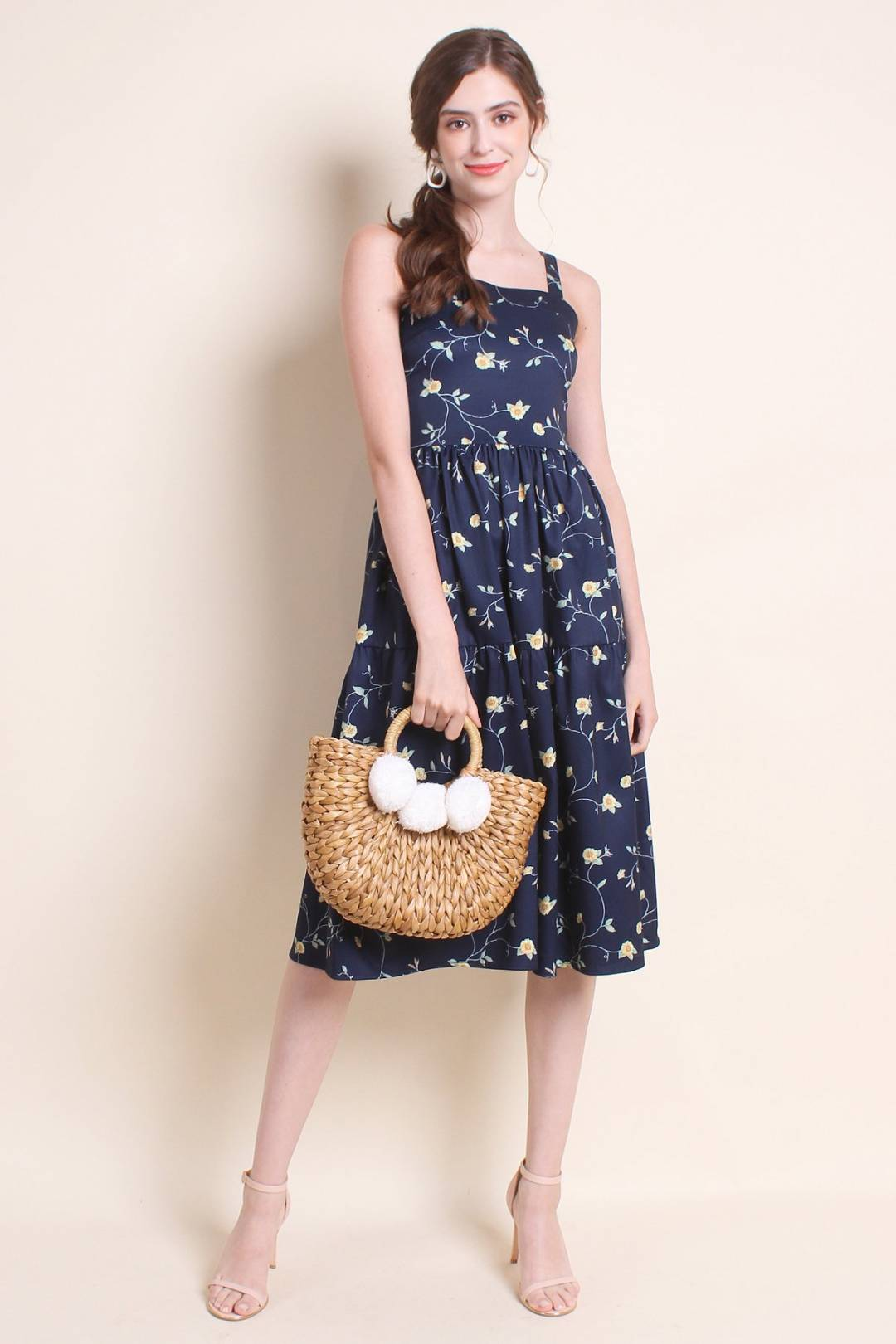 MADEBYNM EMERALDINE FLORAL FIT N FLARE TEA DRESS IN NAVY BLUE [XS/S/M/L/XL]