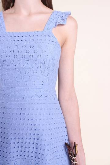 MADEBYNM LAURALIE FRILLED A-LINE EYELET DRESS IN CORNFLOWER BLUE [XS/S/M/L/XL]