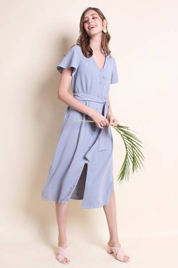 ADALIA BUTTONED FRONT SLEEVE MIDI DRESS IN PERIWINKLE BLUE [S/M/L/XL]