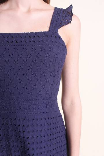 LAURALIE FRILLED A-LINE EYELET DRESS IN NAVY BLUE [XS/S/M/L/XL]