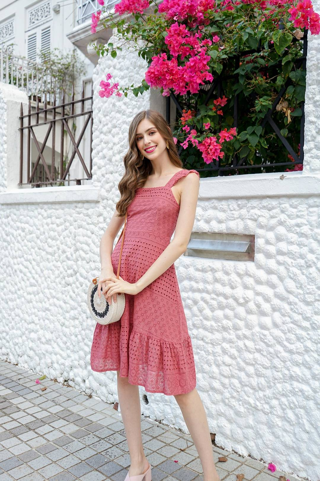 MADEBYNM LAURALIE FRILLED A-LINE EYELET DRESS IN TEA ROSE [XS/S/M/L/XL]