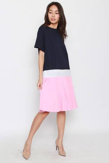 Enid Pleated Dress in Blue Pink