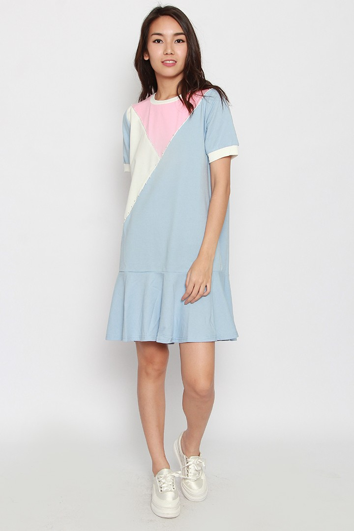 Ruby Colourblock Dress in Pink