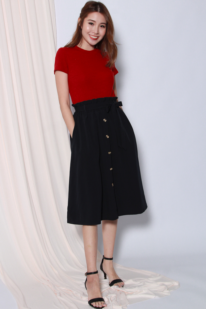 NAOMI PAPERBAG BUTTON SKIRT (DARK NAVY)