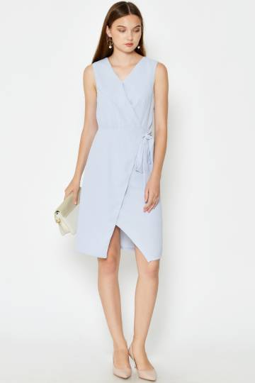 SAMARRA FOLDOVER WRAP DRESS LIGHT BLUE