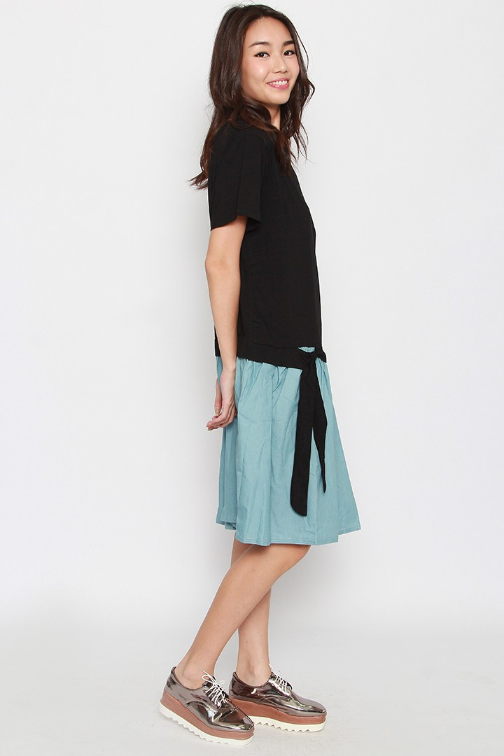Caldwell Dress in Black Denim